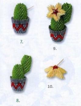 Оригами модульное кактус схема сборки 7-10