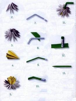 Оригами цветок нарцисс схема сборки 2-13