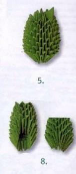 Сборка кактус оригами модульное схема шаг 5-8