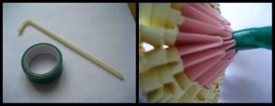Модульное оригами схема сборки листья и стебель