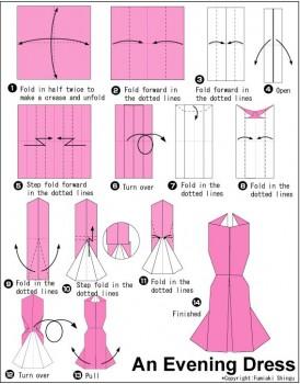 Схема как сделать платье оригами