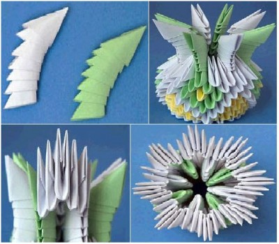 Оригами ваза из треугольных модулей схема 9-12