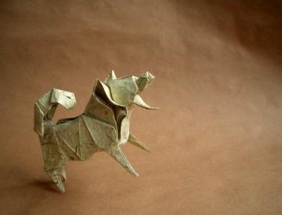 Оригами собака по схеме Katsuta Kyouhei