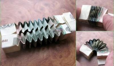 Оригами баян с купюры
