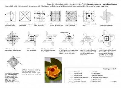 Оригами роза из бумаги схема