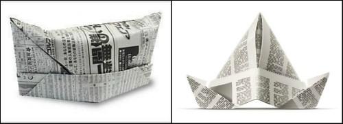 Шляпа оригами из газеты 2 схемы сборки