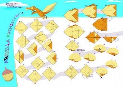 Схема сборки оригами Белка из Ледникового периода