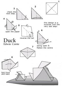 Схема сборки утка оригами