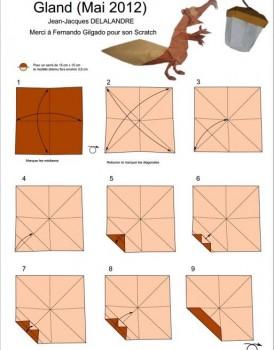 Схема сборки жёлудь оригами для белки из Ледникового периода