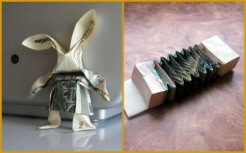 Забавный заяц с баяном в стиле Moneygami