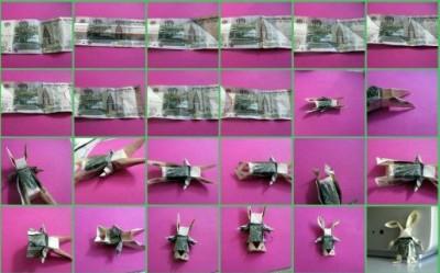 Заяц Moneygami схема сборки