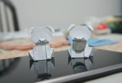 Денежное оригами из бумаги собака