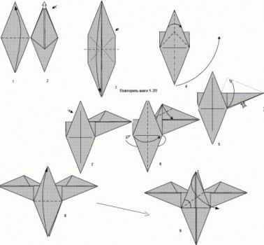 Диаграмма сборки орла оригами
