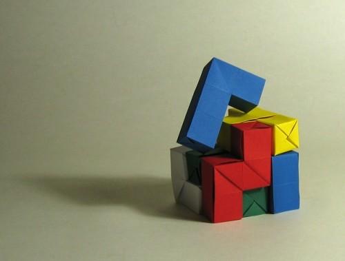 Куб оригами за схемой Jean-Baptiste Vincent