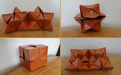 Оригами из бумаги двойная звезда Флексикуб