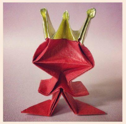 Оригами из бумаги лягушка царевна за схемой Riki Saito