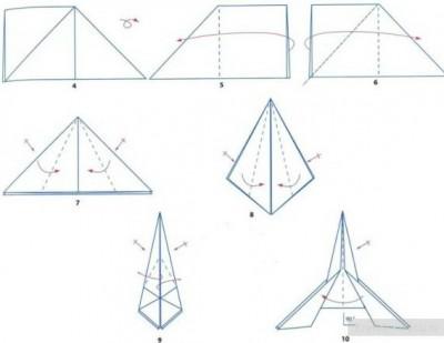 Оригами из бумаги ракета схема 4-10
