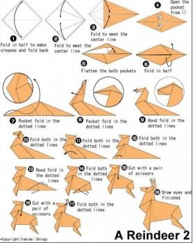Оригами олень схема складывания 1