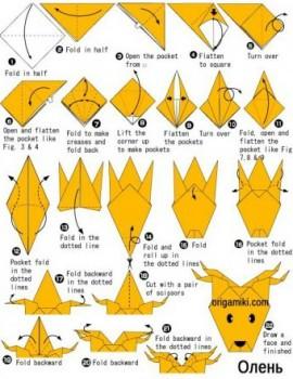 Оригами олень схема складывания 2