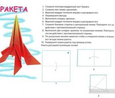 Оригами ракета схема 1-3