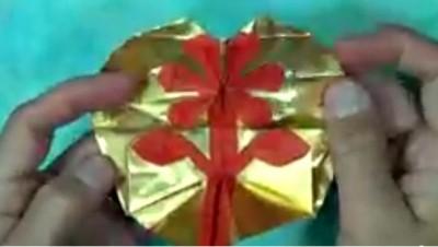Открытка оригами - Сердце-цветок