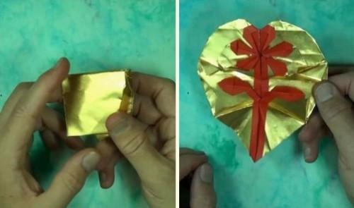 Открытка оригами - Сердце-цветок за схемой Jeremy Shafer