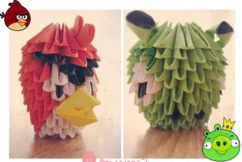Персонажи Angry Birds из треугольных модулей