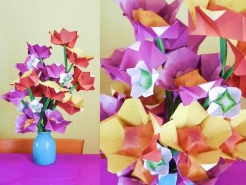 Простой оригами цветок за схемой Joost Langeveld