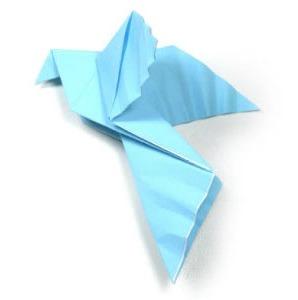 Птица мира голубь оригами за схемой Tadashi Mori