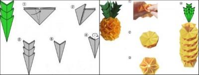 Схема сборки оригами Ананас из модулей