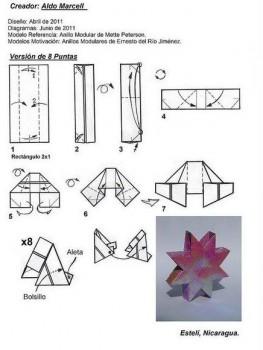 Схема сборки оригами из бумаги звезда Нории