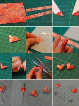 Схема сборки оригами украшения сережки