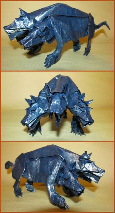 Цербер оригами за схемой Satoshi Kamiya