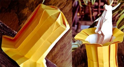 Магическая шляпа оригами с зайцем