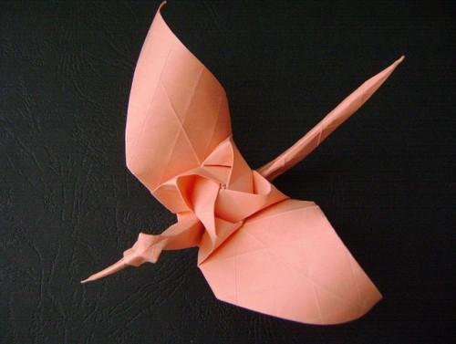 Оригами Журавлик с розой за схемой Kamiya Satoshi