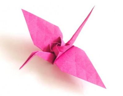 Оригами из бумаги журавль с розой