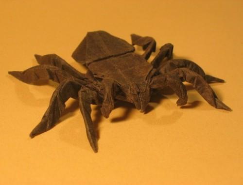 Оригами паук за схемой Robert J. Lang видео
