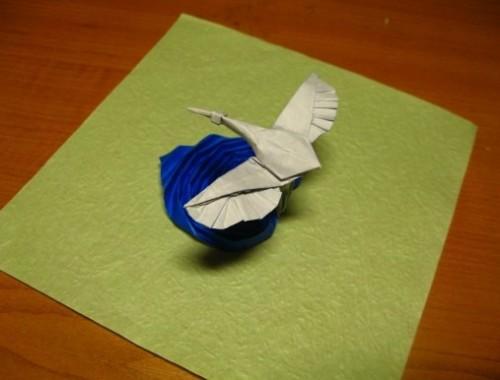 Оригами журавль на воде за схемой Jon Tucker