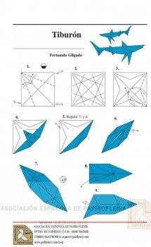 Схема сборки акулы оригами