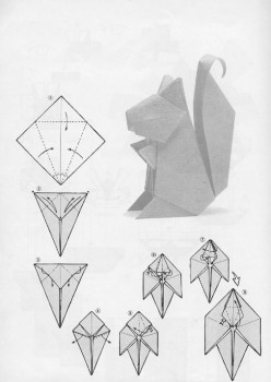Схема сборки белки оригами