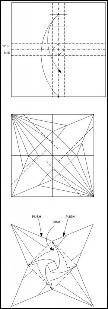 Схема сборки журавля оригами