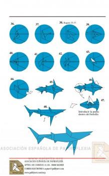 Схема складывания акула оригами