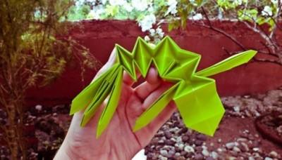 Ящерица оригами схема