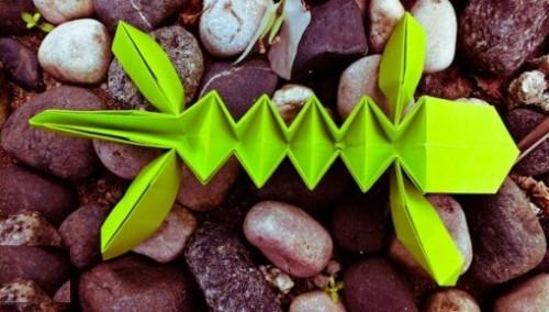 Ящерица оригами за схемой Evan Zodl