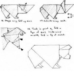 Бурый Медведь оригами схема складывания