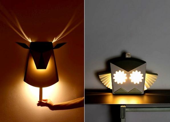 Дизайнерская работа Chen Bikovski Pop Up lighting - ночники-раскладушки оригами