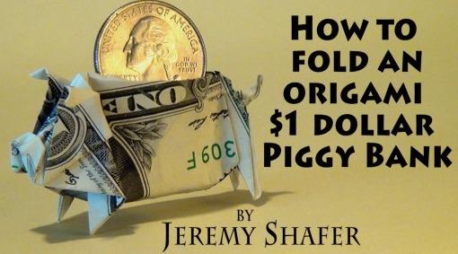 Как сделать Moneygami Свинка-копилка за схемой Jeremy Shafer