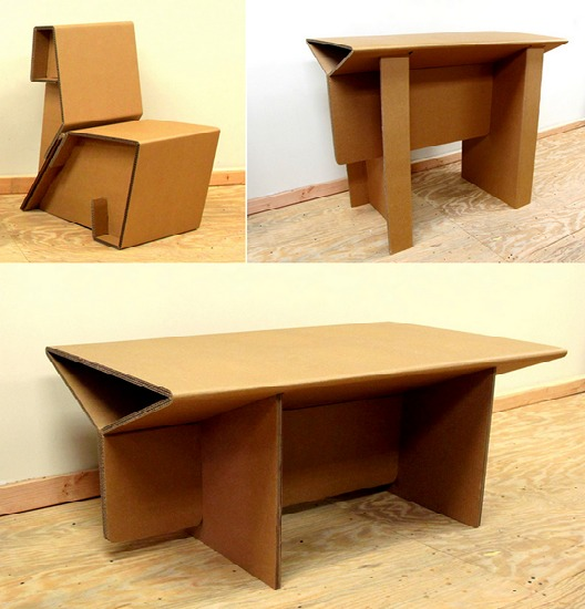 Легкая мебель из картона оригами
