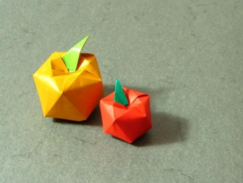Оригами яблоко за схемой Shuzo Fujimoto