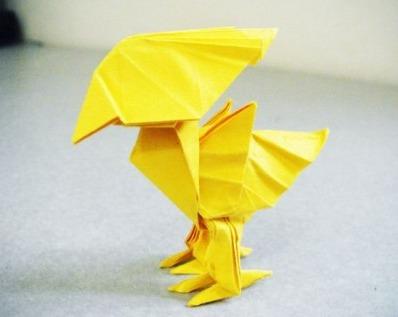 Птичка из бумаги оригами за схемой Satoshi Kamiya